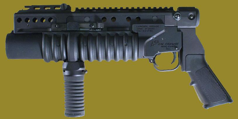 M203PI 40mm grenade launcher EGLM as a pistol with M203grip.