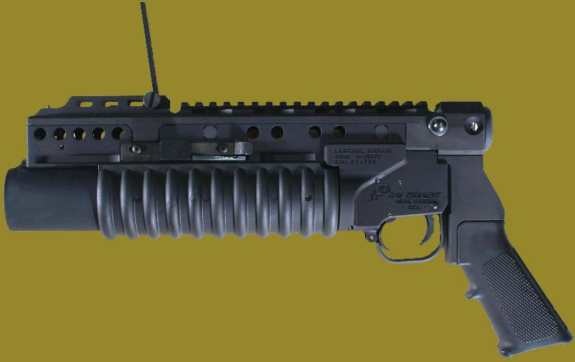 M203PI 40mm Grenade Launcher  EGLM attached to the standalone pistol model.