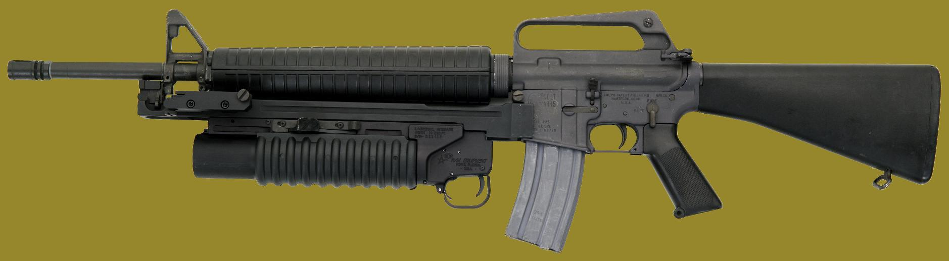 The M203 40mm grenade launcher on the M16 rifle - one version of the M203PI EGLM manufactured by RM Equipment, Inc.